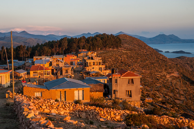 Village Yumani soaking in the sun at sunset on Isla del Sol, an island on Lake Titicaca in Bolivia