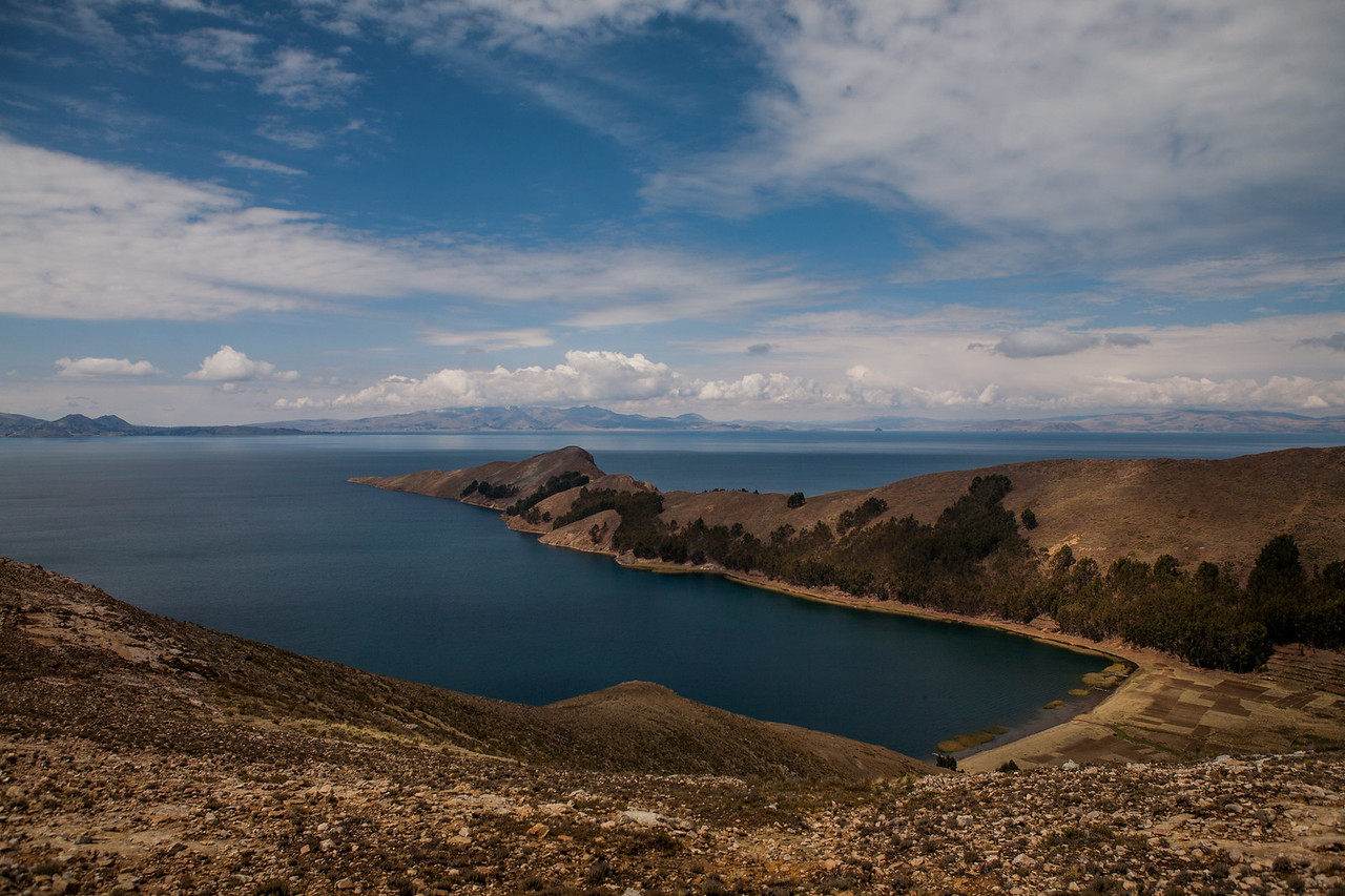 The less populated side of Isla del Sol, an island on Lake Titicaca, Bolivia