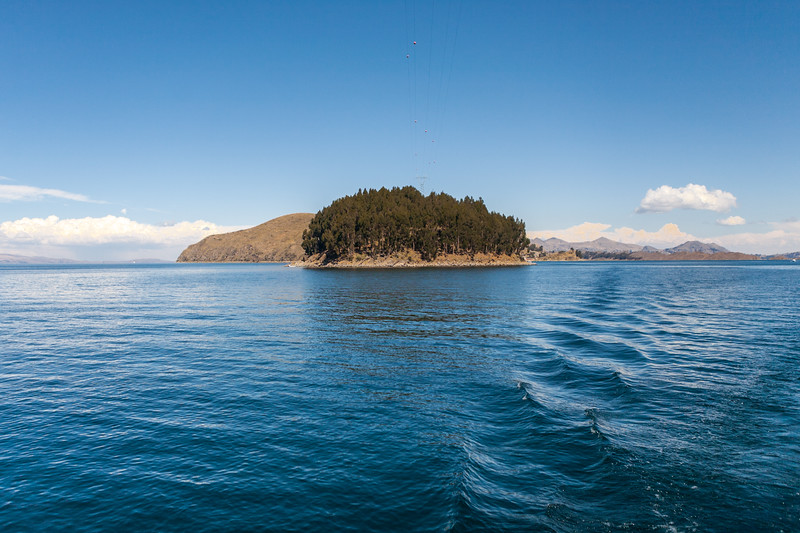 Small islands on the way to Isla del Sol an island in Lake TIticaca on the Bolivian side