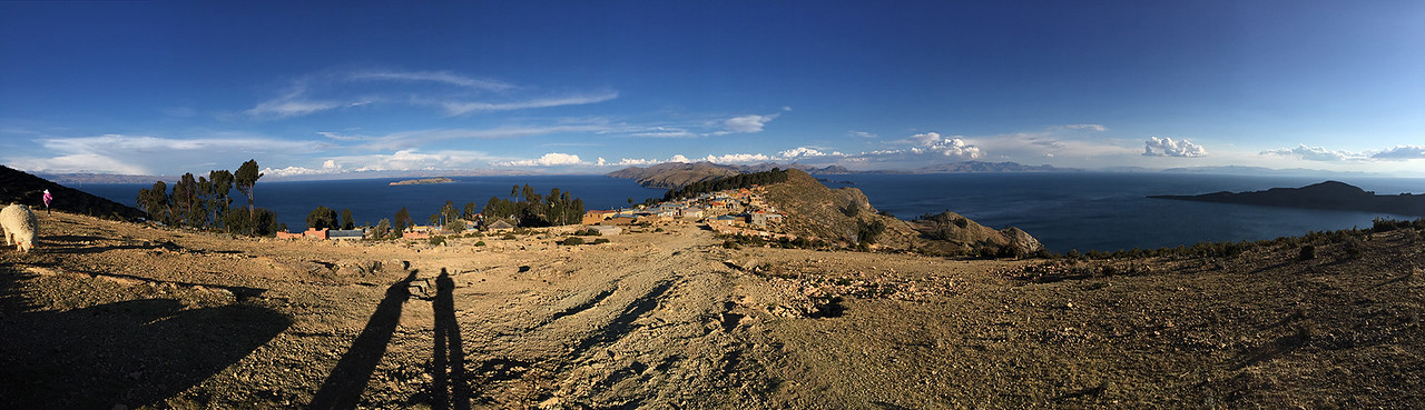 Panoramic view of Lake Titicaca from top of Yumani on the south side of Isla del Sol, Bolivia