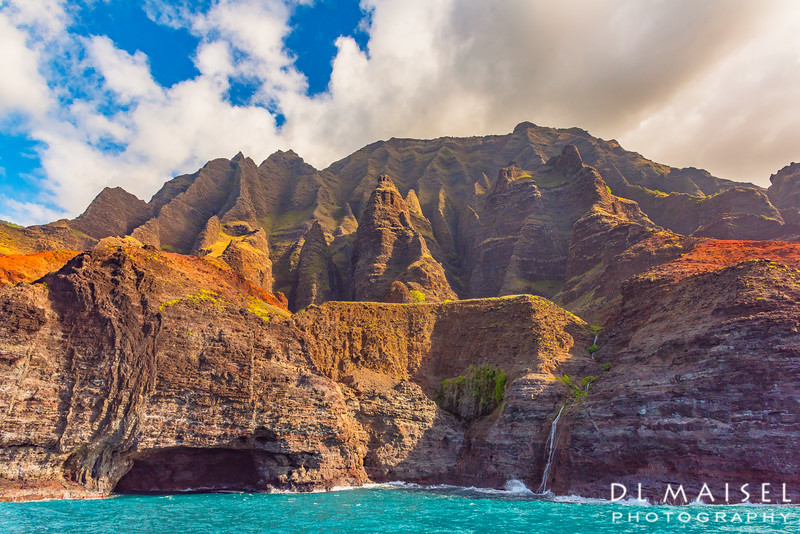 Waterfall, Spires and Sea Cave Na Pali Coast Kauai