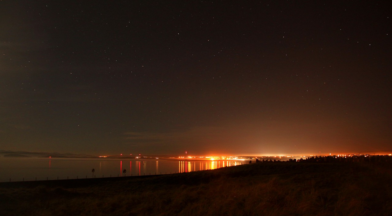 Lights of Stornoway from the Braighe