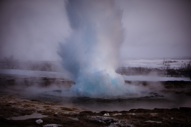 Strokkur geyser, Haukadalur valley, geothermal area, Golden Circle