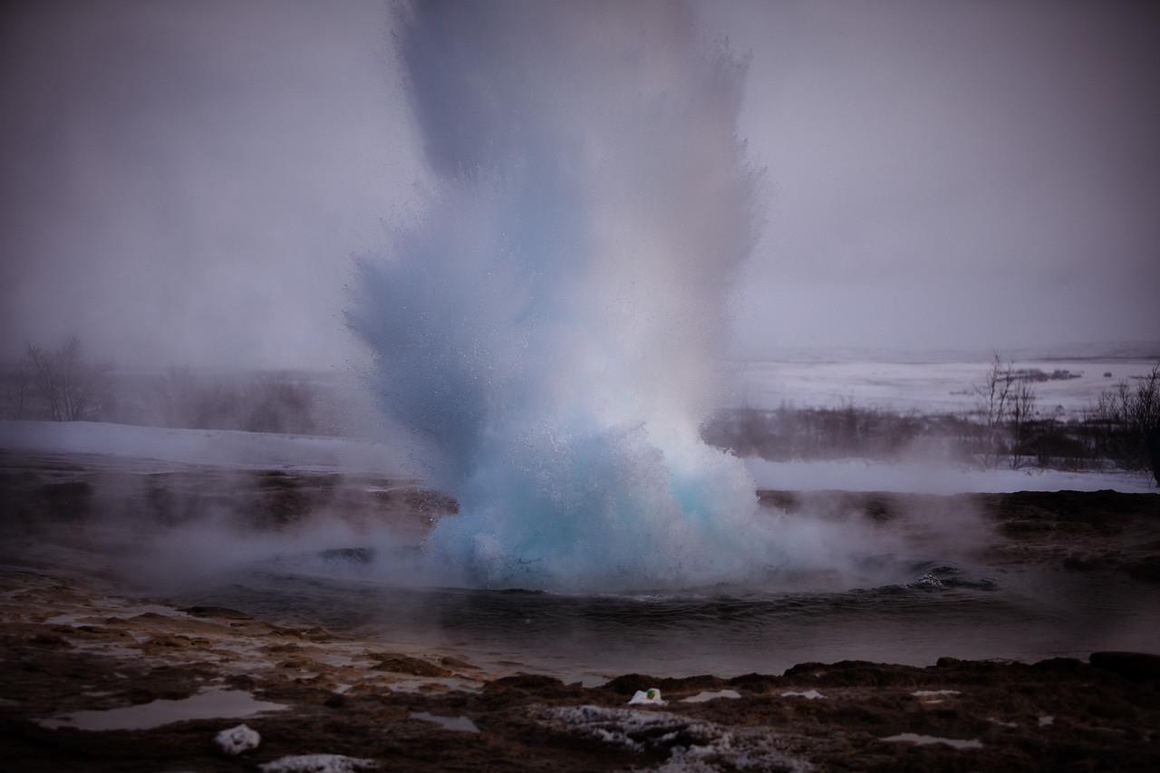Strokkur geyser, Haukadalur valley, geothermal area, Golden Circle