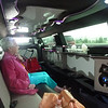 Maxine in the limo, enjoying the ride