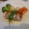 Broiled salmon with lemon-dill sauce, vegetable saute, parsley potatoes
