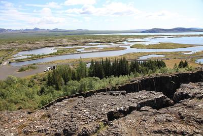 Równina Þingvellir - widk z platformy widokowej