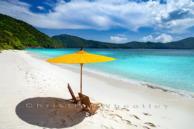 White Bay, Guana Island umbrella and chairs