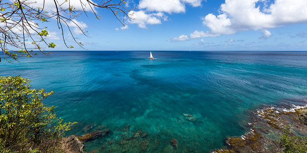 St Lucia Blues Sailboat panorama