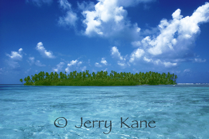 Caribbean islet at Glover's Reef atoll off Belize, Central America