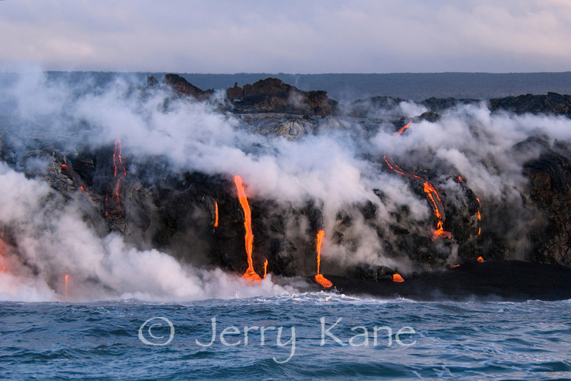 Lava flowing into the Pacific Ocean - Puna, Big Island, Hawaii