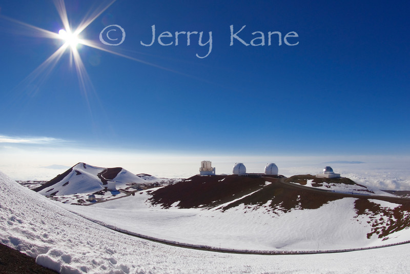 Observatories at the 13,796 ft summit of Mauna Kea - Big Island, Hawaii