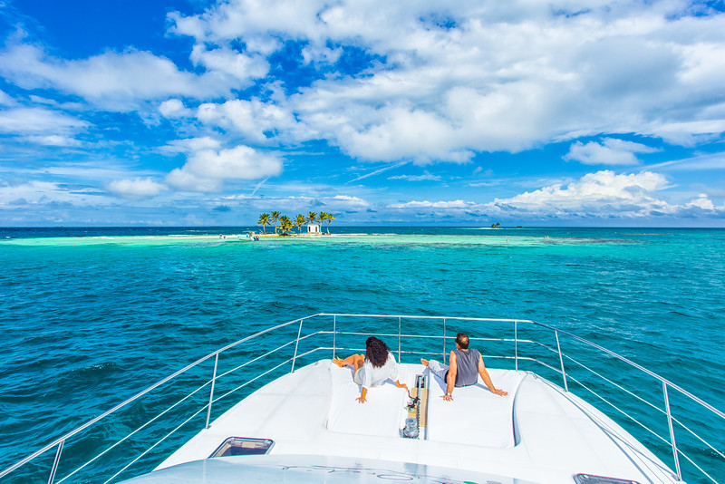 Yatch at Silk Caye, Belize