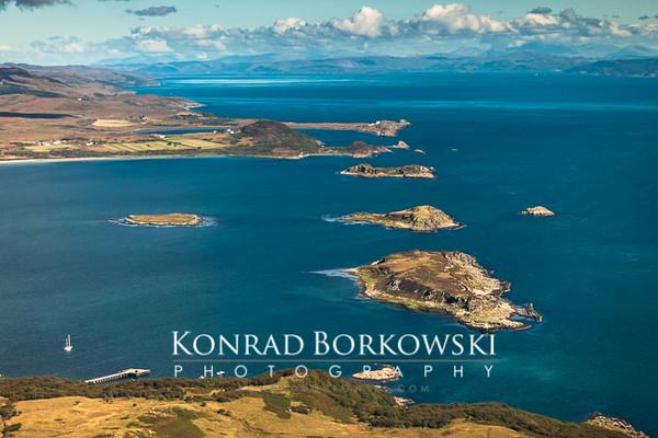 Small Isles Bay from the air, Isle of Jura, Scotland.