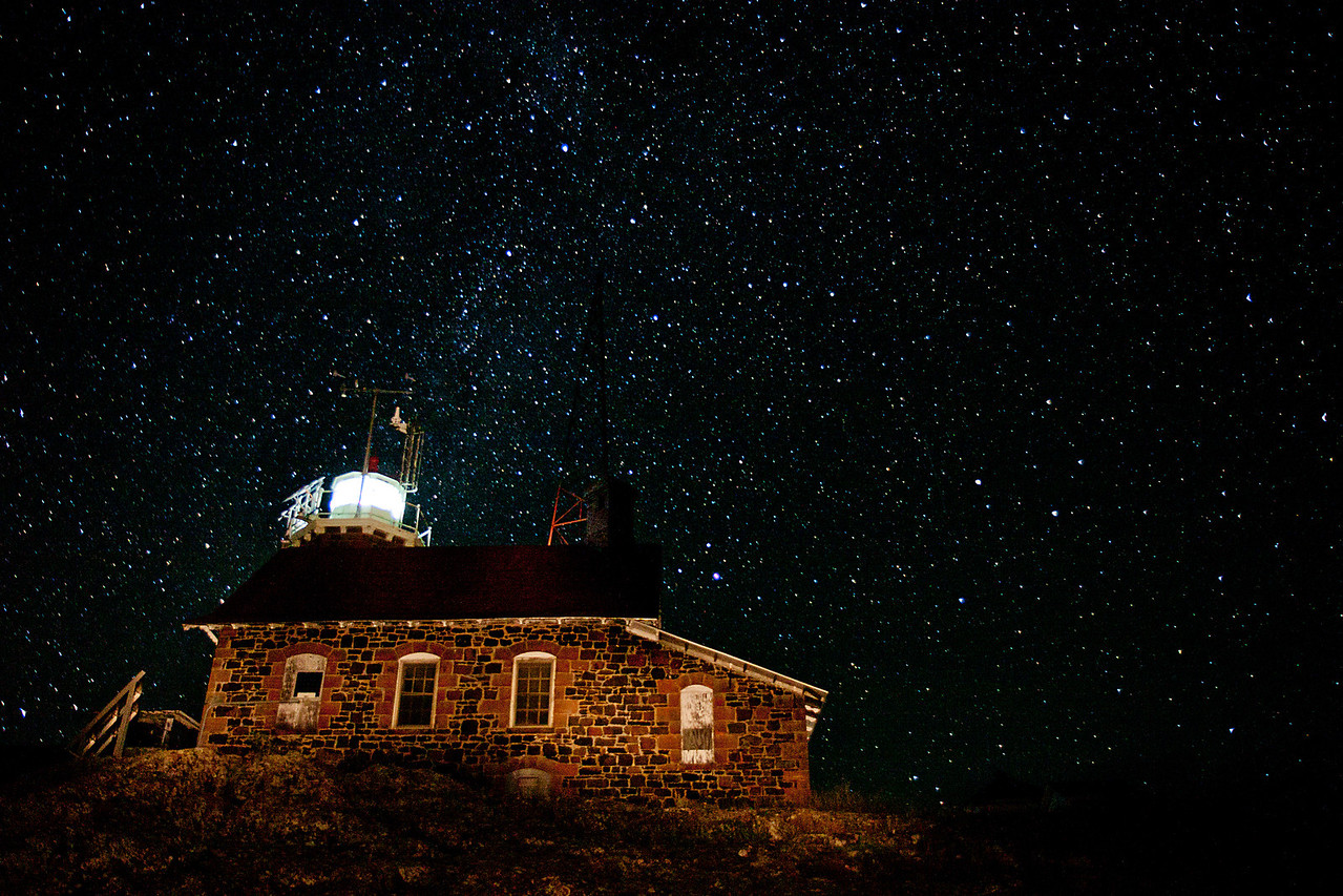 Passage Island Light under the Milky Way