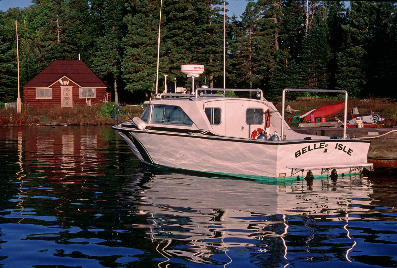 "The Park Service Vessel ""Belle Isle"" at Amygdaloid Island Ranger Station"