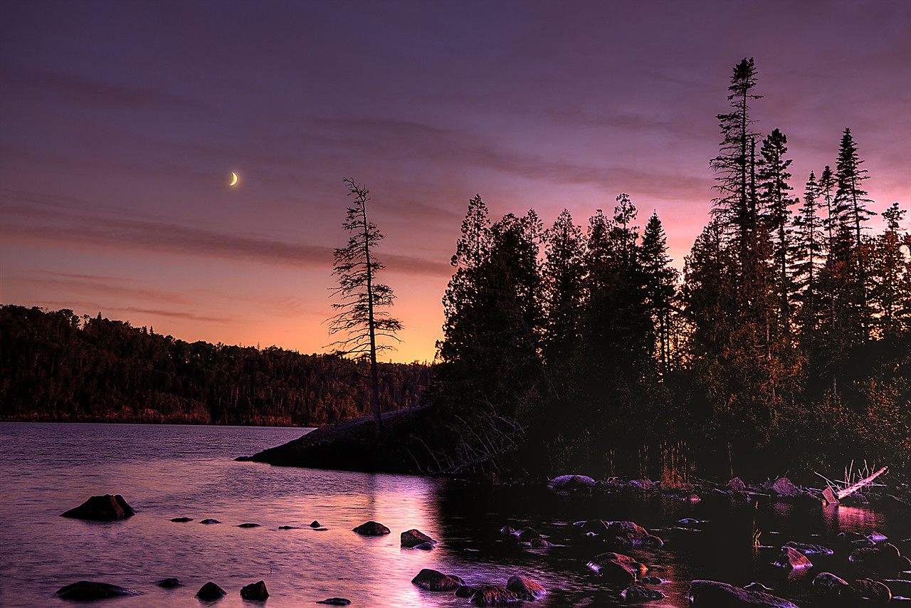 Hawk Island Cresent Moon Sunset II