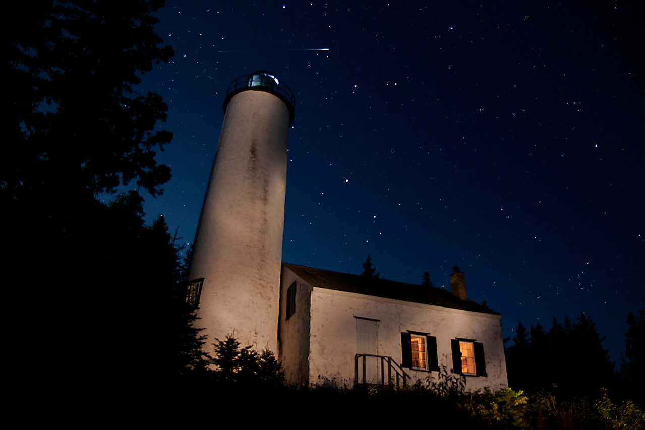 Shooting Star over the Old Rock Harbor Lighthouse