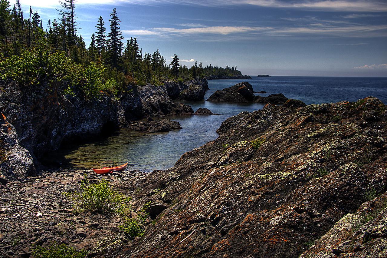 Rocky Lake Superior shoreline of Isle Royale National Park.