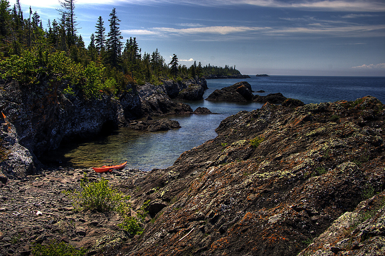 Rocky Lake Superior shoreline of Isle Royale National Park.