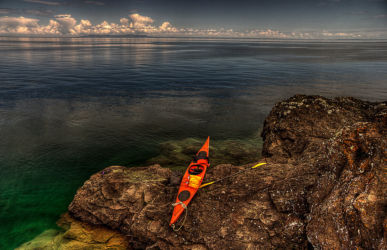 kayak, Lake Superior, shoreline, Isle Royale