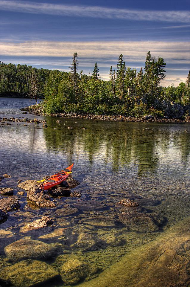 Kayak at Hawk Island, Isle Royale