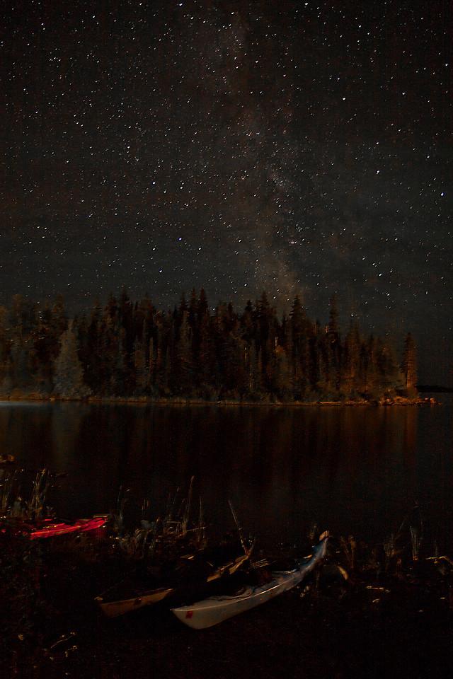 Milky Way over Beached Kayaks