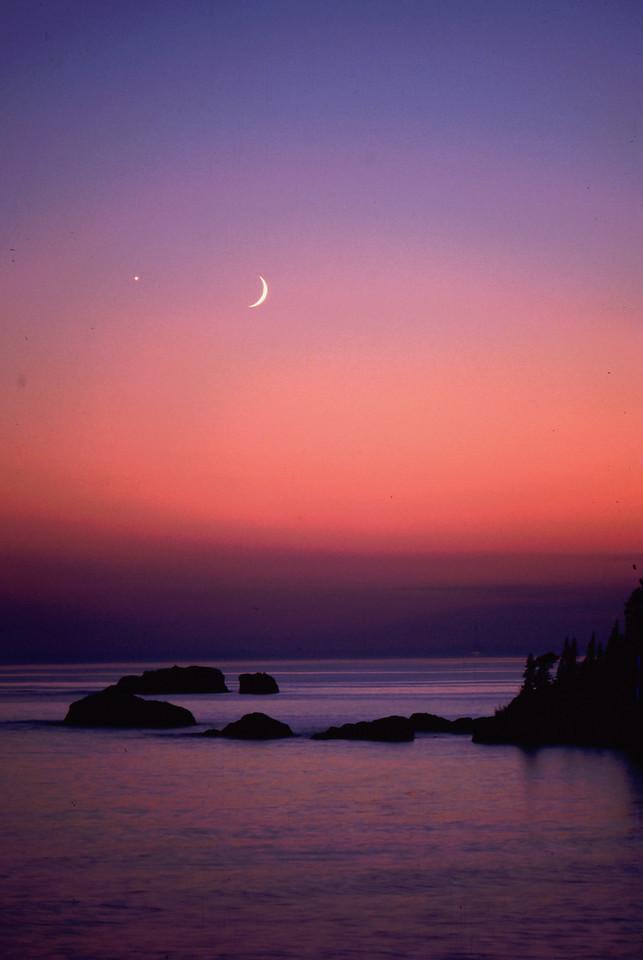 Vertical Cresent Moon Sunset