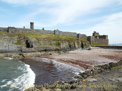 Peel Castle, July 29, 2009. Fenella Beach and the Victorian causeway built to link the castle crowned St. Patrick's Isle to the mainland can be seen.