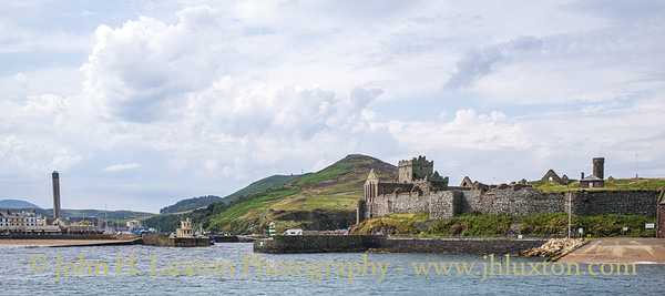 Peel Castle and Harbour Entrance, Peel, Isle of Man - July 30, 2019