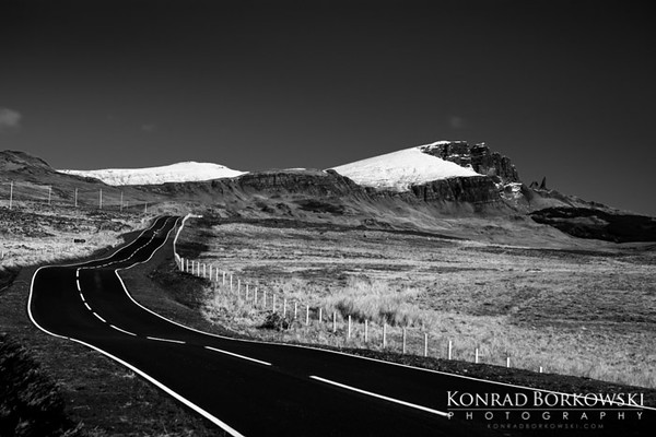 Road along the west coast of the Trotternish Peninsula and the Old Man of Storr, Isle of Skye.