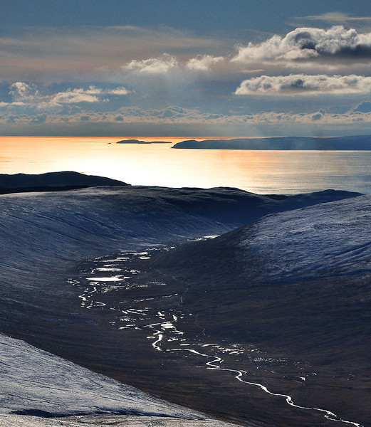 View down Glen Iorsa, with Sanda and Kintyre in the distance.