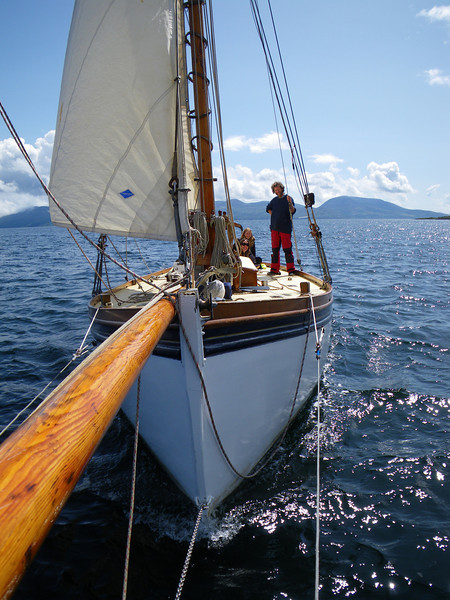 Lassie, captain and crew. Heading up loch Fyne from Lochranza.