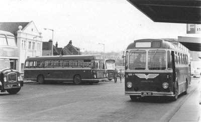 Newport Bus Station just before midday on 11th April 1970, with FS6G 572, RESL 809, Marshall LHS 833 and coach conversion LS6G 855 (John R Stewart)