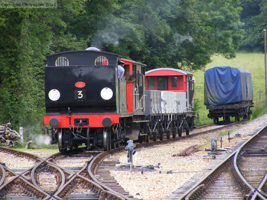 Calbourne shunts the wagons into the siding