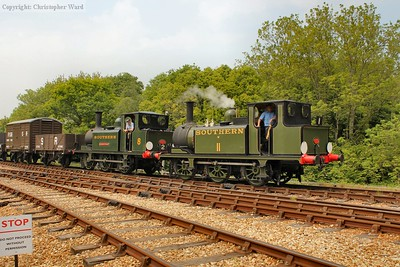 The two Terriers bring the vintage freight through the station