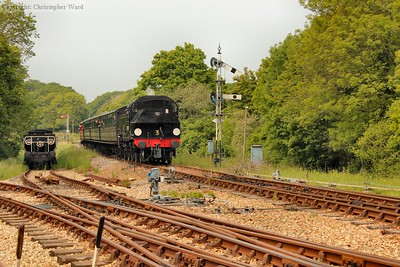 The Ivatt drops down into Havenstreet with a train from Wootton