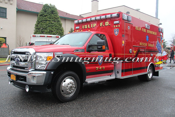 Islip F.D. Ambulance 3-4-3 Wetdown & 75th Anniversary 4-2-16