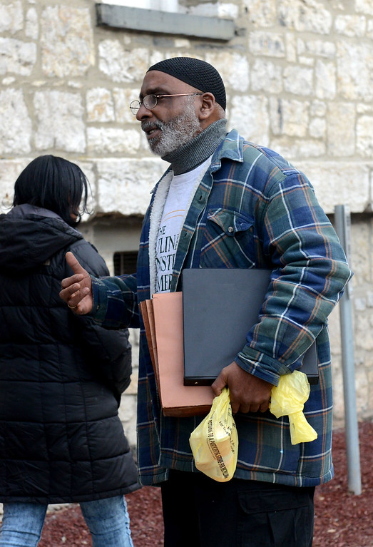 . Tania Barricklo-Daily Freeman                      Ismail Shabazz outside the Ulster County Courthouse Tuesday morning after leaving court.