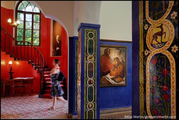 ISRAEL. TEL AVIV BAUHAUS. Le musée Bialik. La maison de style néo-biblique de Haim Naham Bialik, le poète et dramaturge d'Odessa