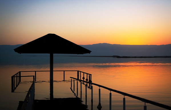 Cabana sunrise at Dead Sea