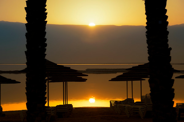 Sunrise on Dead Sea beach