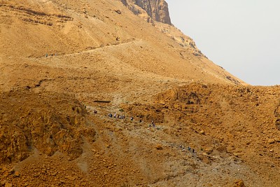the hike up Masada