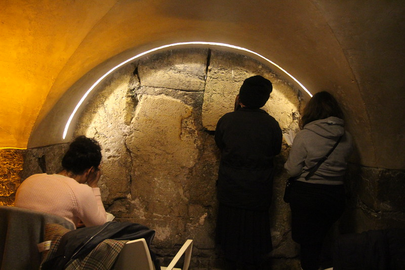 Inside the temple tours they have estimated the spot on the wall which would have been closest to the Holy of Holies, the ark of the covenant.  It is a holy place, where Jews pray.