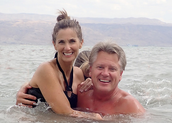 The Dupes enjoying the Dead Sea,  The Dead Sea is the lowest point on the earth's surface 1,286 ft below sea level.