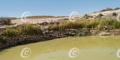 Section of the Bor Hemet Cistern Wall near the Makhtesh Ramon Crater in Israel