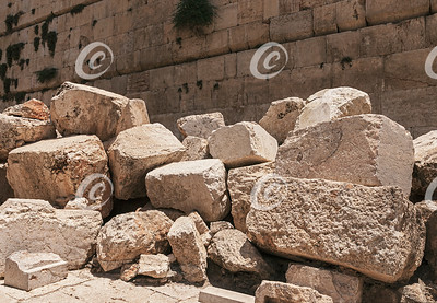 Detail of Second Temple Destruction at the Kotel in Jerusalem