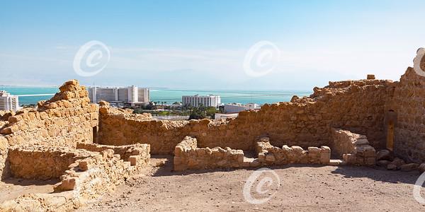 Ancient Roman Fort and Modern Resort Hotels in Ein Bokek in Israel