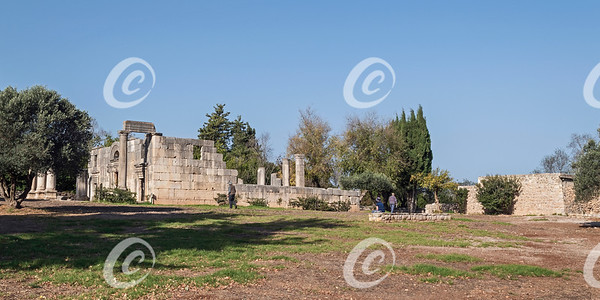 Panorama of the Ancient Baraam Synagogue in Israel