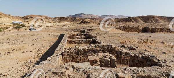 A Row of Rooms at the Khan Saharonim Caravanserai in the Makhtesh Ramon Crater in Israel